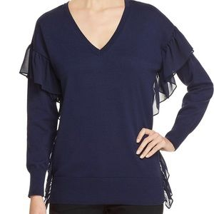 Michael Michael Kors cotton ruffle v neck sweater